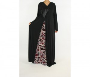Azeeza Abaya with burgandy paisley pattern