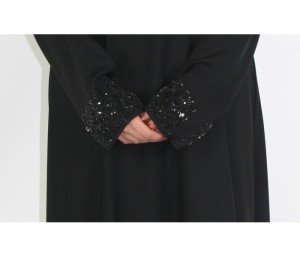black abaya with rhinestone sleeves