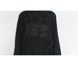 black abaya with rose details